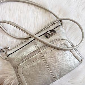 Tignanello - Silver Leather Cross Body Bag